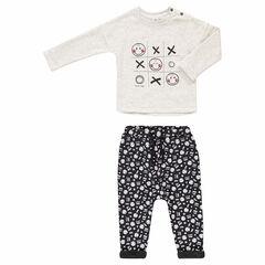 Jogging met T-shirt met ©Smileyprint en broek van molton met voering van sherpa