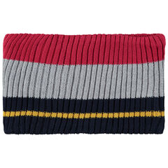 Snood van tricot met contrasterende banden en voering van sherpa