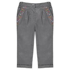 Pantalon en coton fantaisie avec broderies