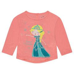 T-shirt van slub jerseystof met fantasieprint