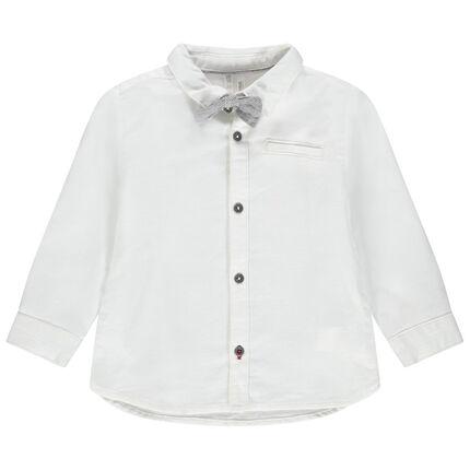 Chemise manches longues en coton à noeud papillon amovible