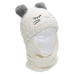 Muts/sjaal van tricot met oren in de vorm van pompons