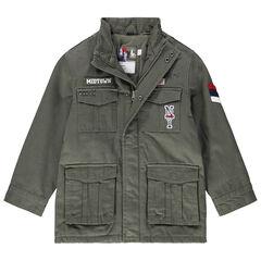 Parka en twill à poches avec badges et détails style army