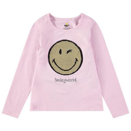 T-shirt met lange mouwen van jerseystof met Smiley van magische lovertjes
