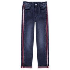 Junior - Slim-fit jeans met used-effect en opgestikte banden aan de zijkanten