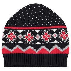 Bonnet en tricot doublé sherpa avec motif vintage jacquard