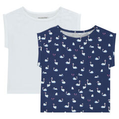 Set met 2 T-shirts met korte mouwen van jerseystof en rechte snit