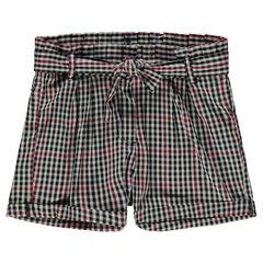 Junior - Short à carreaux vichy avec ceinture à nouer