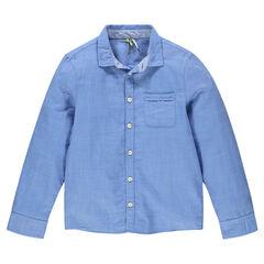 Junior - Chemise manches longues unie avec poche