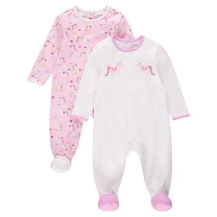Set van 2 pyjama's uit jerseystof met eenhoornprints