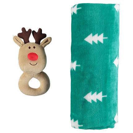 Ensemble couverture sherpa motif sapins et hochet renne