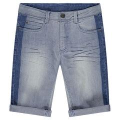 Junior - Jeansbermuda met used effect met contrasterende banden