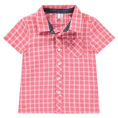 Hemd met korte mouwen, contrasterende ruitjes en zakje