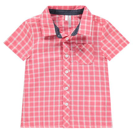 Chemise manches courtes à carreaux contrastés avec poche
