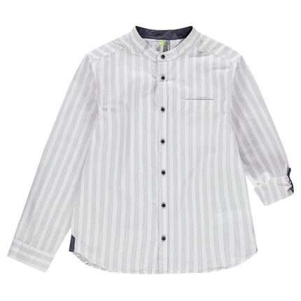 Junior - Verticaal gestreept hemd met lange mouwen en maokraag