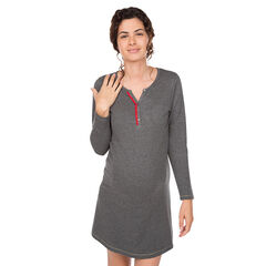 Zwangerschaps- en borstvoedingsnachthemd met hals met drukknopen