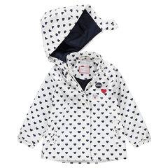 Coupe-vent en gomme avec imprimé coeurs all-over doublure jersey