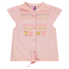 Overhemd met korte mouwen en borduurwerk met pompons