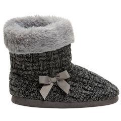 Pantoffels in laarsvorm van tricot met voering van imitatiebont