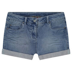 Junior - Short en jeans imitation molleton effet used et crinkle