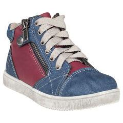 Botillons bicolores aspect jeans à lacets et zip