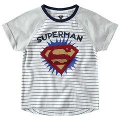 T-shirt met korte raglanmouwen met logo van Warner Superman van magische lovertjes