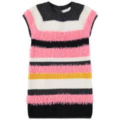 Gestreepte jurk met korte mouwen uit decoratieve tricot