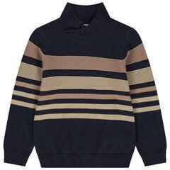 Pull en tricot à col croisé et rayures
