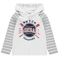 T-shirt manches longues à capuche print esprit baseball