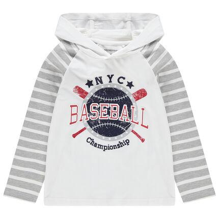 T-shirt met lange mouwen met kap en print in baseballstijl