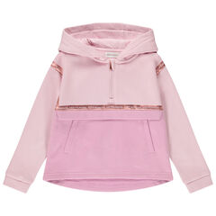 Sweat en molleton rose à capuche et col zippé pour fille , Orchestra