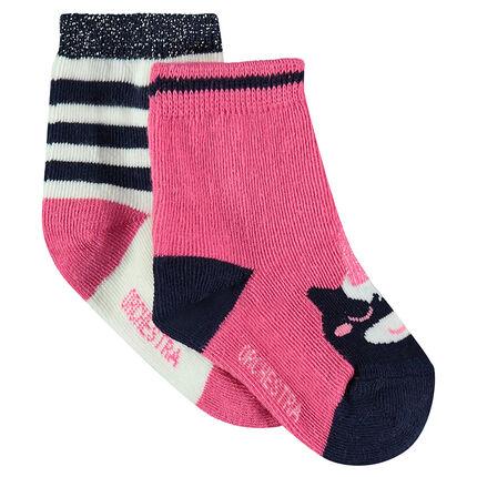 Set met 2 paar matching sokken met eenhoornmotief van  jacquard