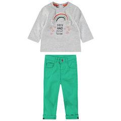 Ensemble van T-shirt met lange mouwen met geborduurde regenboog en groene broek