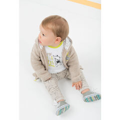 Ensemble avec tee-shirt print ourson et pantalon imprimé all-over