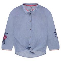 Junior - Gestreept hemd met lange mouwen en geborduurde bloemen