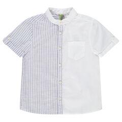 Chemise manches courtes avec rayures placées