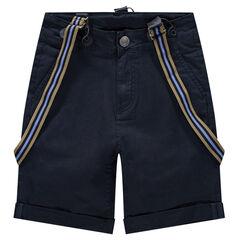 Junior - Short van katoen met afneembare, gestreepte bandjes