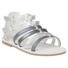 Zilveren sandalen in Spartaanse stijl