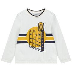 T-shirt manches longues en coton à message printé