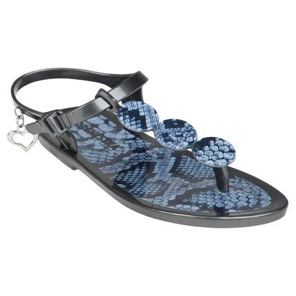 Nu-pieds en plastique avec imprimé et patchs fantaisie