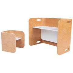 Meuble 3-en-1 bureau banc et table avec 1 chaise , Prémaman