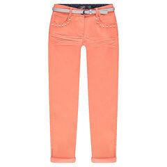 Junior - Pantalon slim effet crinkle avec perles fantaisie et ceinture