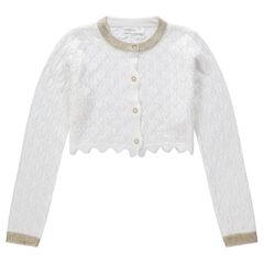Korte feestelijke vest van tricot met ajour en gouden details