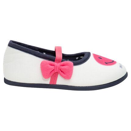 Pantoffels uit jerseystof met elastiscge riem en roze ©Smiley strik