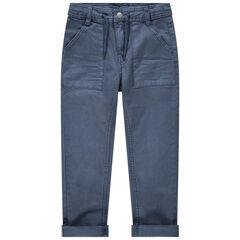 Blauwe, geverfde broek met zakken en aantreklintjes