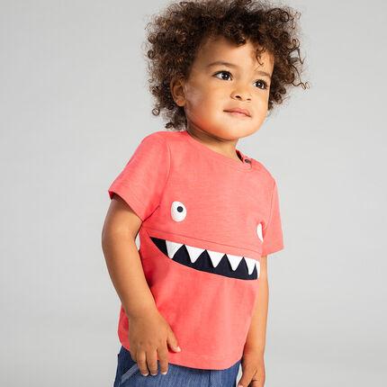 Tee-shirt manches courtes en jersey slub avec monstre sur le devant