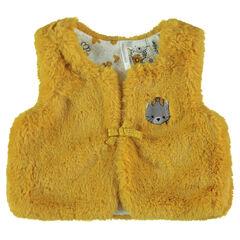 Vest zonder mouwen van mosterdgele sherpa met geborduurde kat