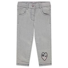 Jeans met used effect en hartjes van sherpastof