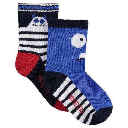 Lot de 2 paires de chaussettes avec monstres en jacquard