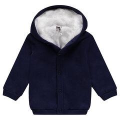 Gilet à capuche en tricot doublé sherpa